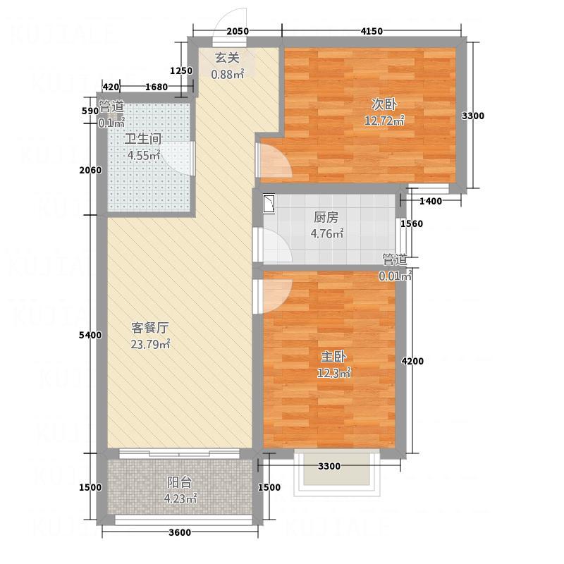欢乐江山A3户型2室1厅1卫1厨
