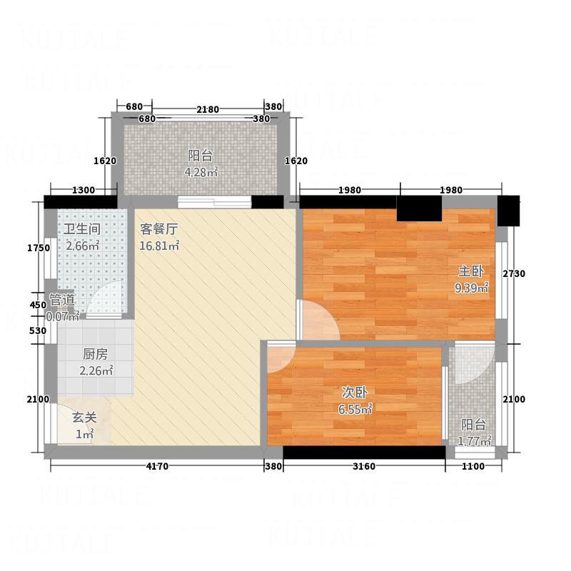 名都国际公寓58.76㎡27单位户型2室2厅1卫1厨