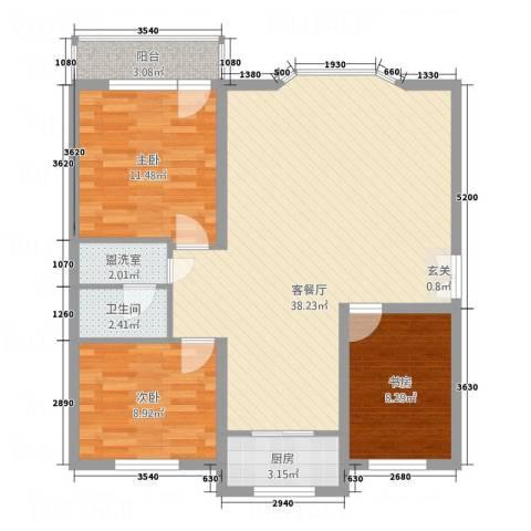 水泥机械厂宿舍3室2厅1卫1厨109.00㎡户型图