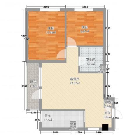 双鑫家园2室1厅1卫1厨80.00㎡户型图