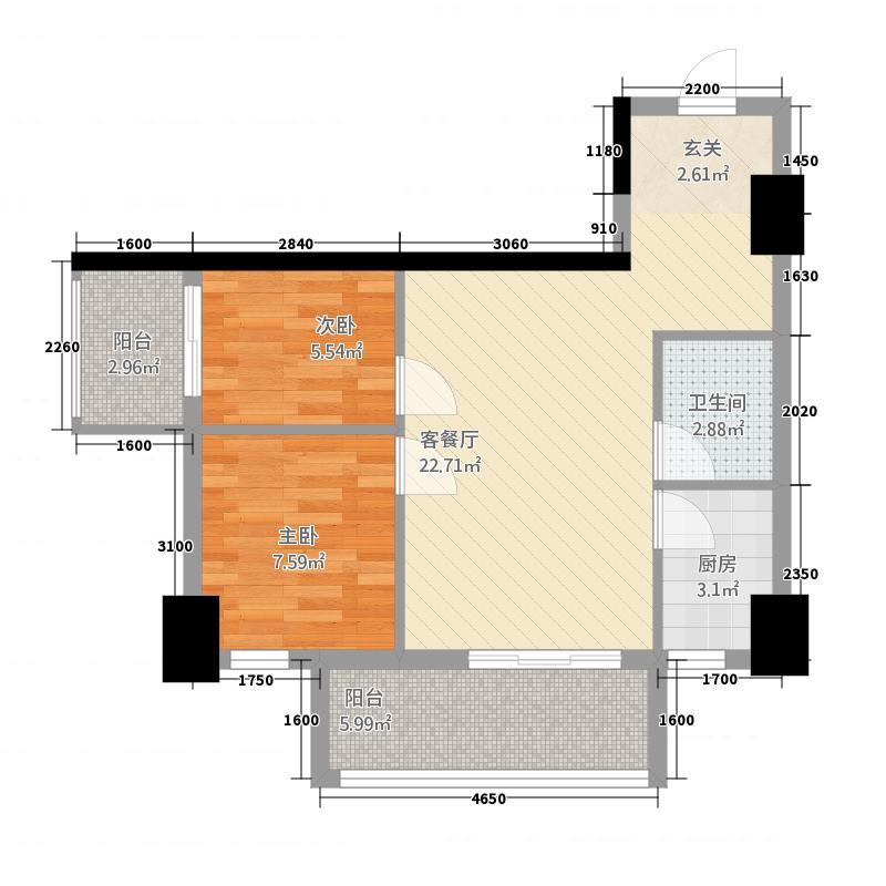 信达金领时代8.00㎡标准层C户型2室2厅1卫1厨