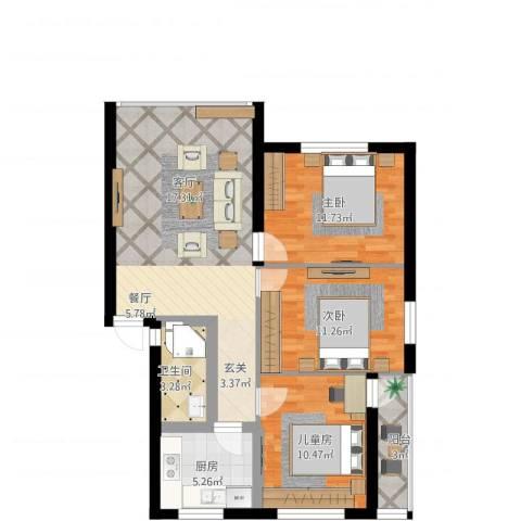 天灯堡3室1厅1卫1厨102.00㎡户型图