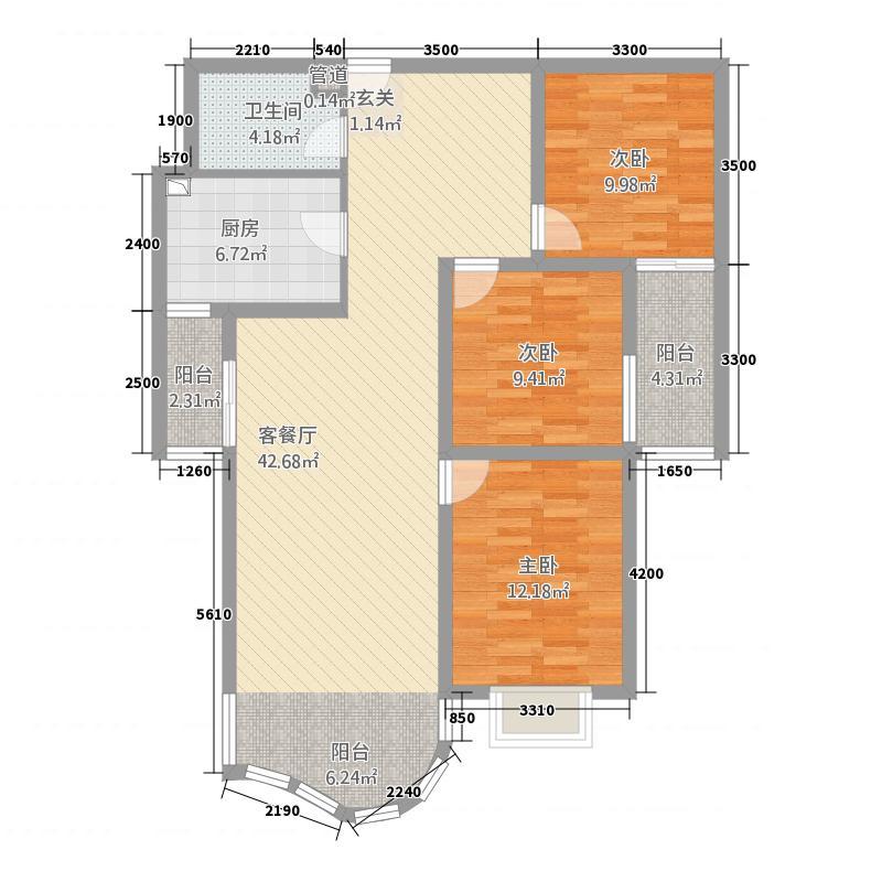 东方湘江湾121.36㎡6666户型3室2厅2卫1厨