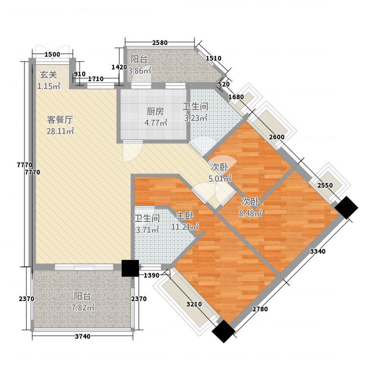 永怡花园户型3室2厅2卫