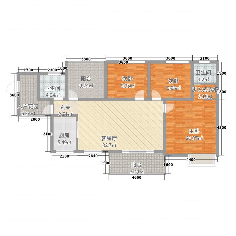 中虹江与城13.00㎡F户型3室2厅2卫1厨