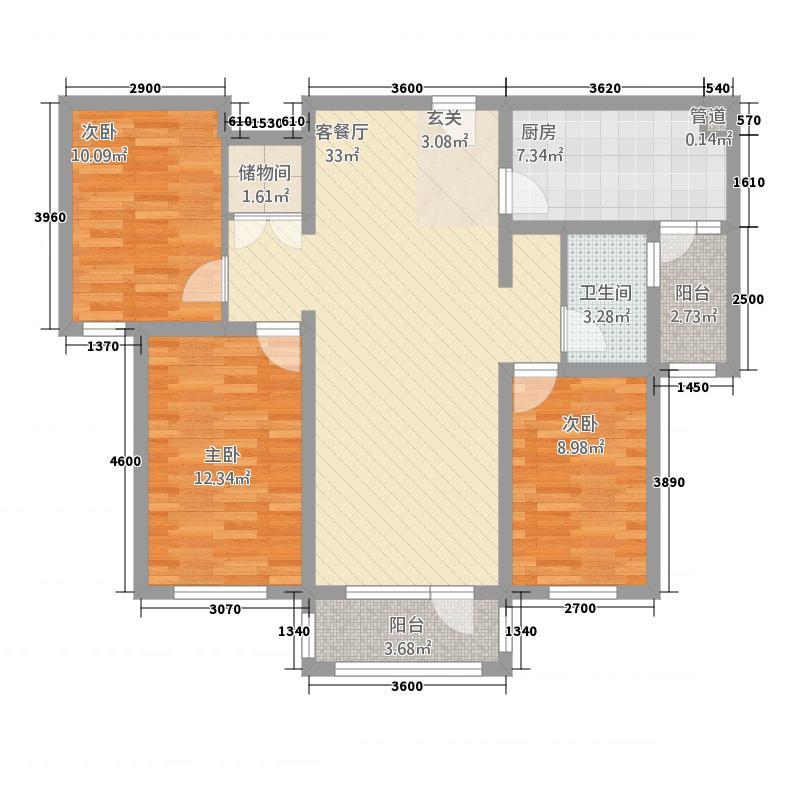 凤宝紫园C户型3室2厅1卫