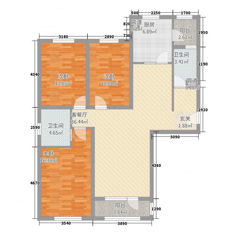 凤宝紫园B户型3室2厅2卫