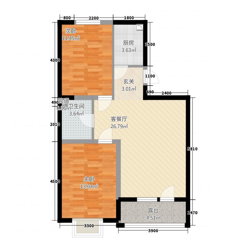 艺豪・法雅庄园3.46㎡户型2室2厅1卫1厨