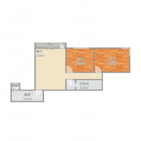 万寿路甲15号院2室1厅1卫1厨81.00㎡户型图