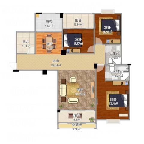 阳光名邸3室1厅2卫1厨151.00㎡户型图
