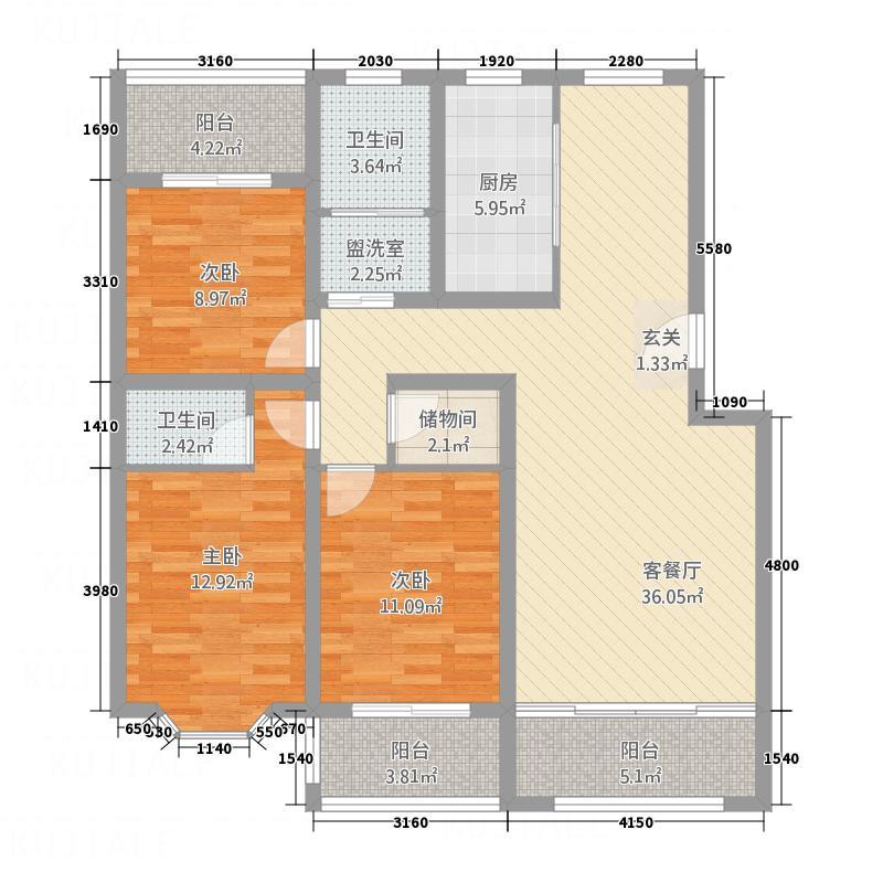 中天・雅和居32142.20㎡b户型3室2厅2卫