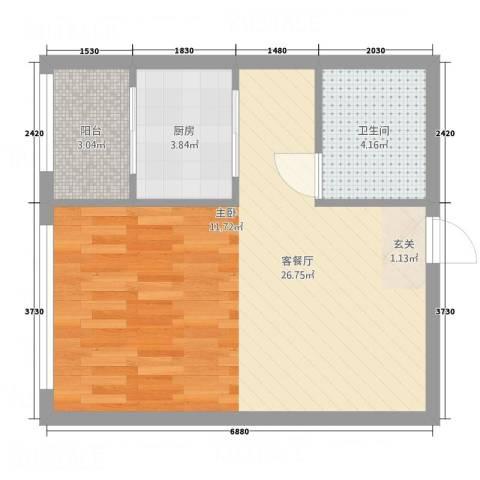 亿安天下城1厅1卫1厨53.00㎡户型图