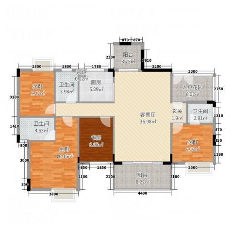 万科城市风景4室1厅3卫1厨142.00㎡户型图