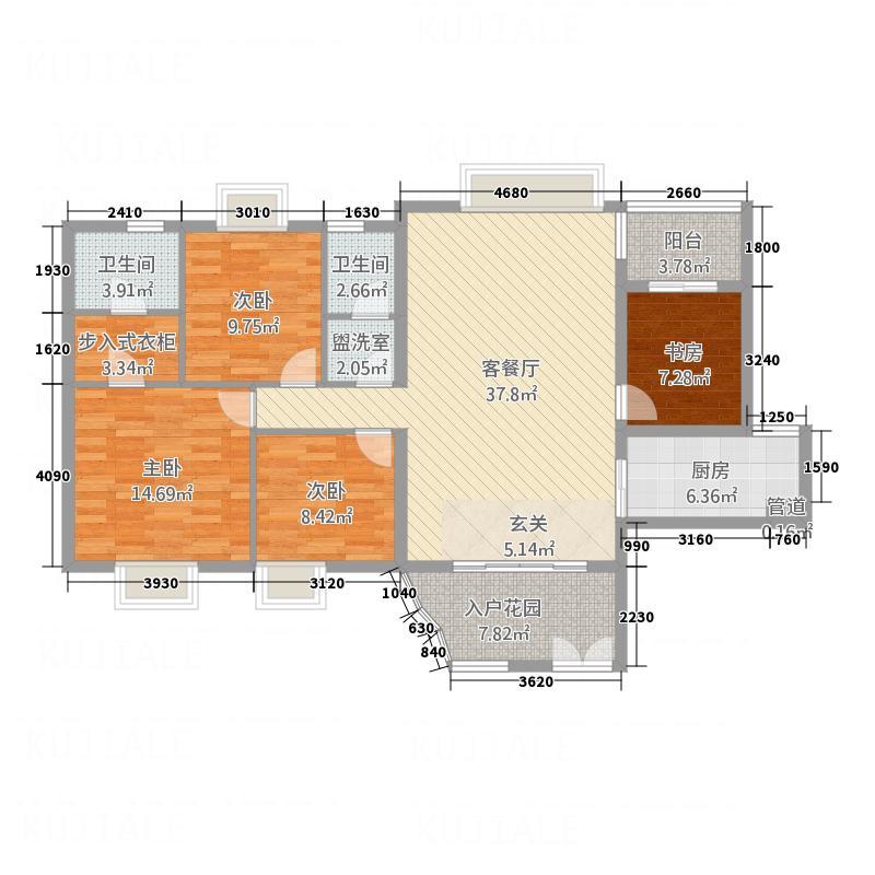新城国际153.00㎡户型4室2厅2卫1厨