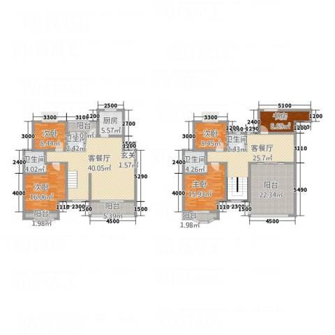 天工颐园5室2厅4卫1厨257.00㎡户型图