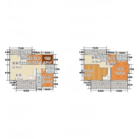 幸福里6室2厅4卫1厨316.00㎡户型图