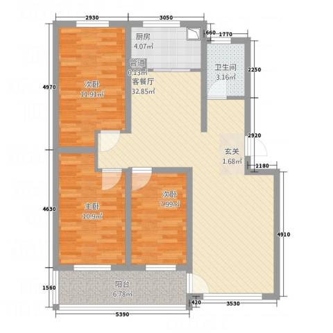 高科惠泽园3室1厅1卫1厨112.00㎡户型图