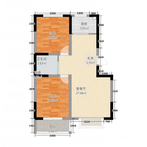 晟宝龙广场2室1厅1卫1厨91.00㎡户型图
