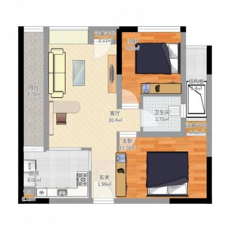 大有智慧广场1室1厅1卫1厨82.00㎡户型图