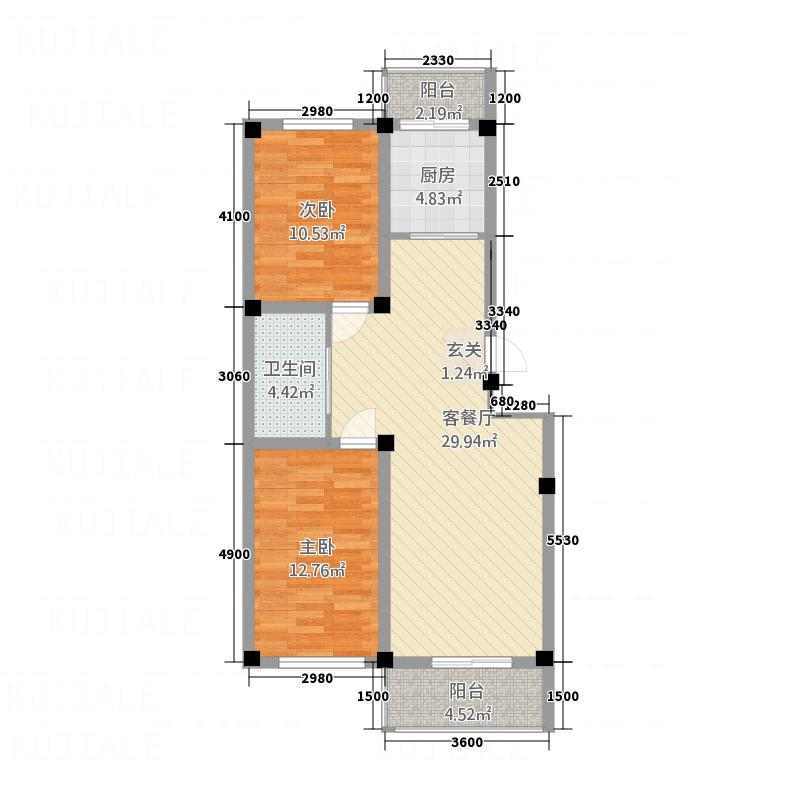 丽景国际8.00㎡户型2室2厅1卫1厨