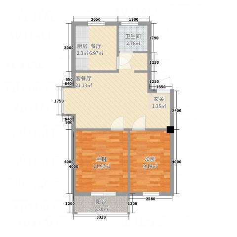 丽景国际2室2厅1卫0厨73.00㎡户型图
