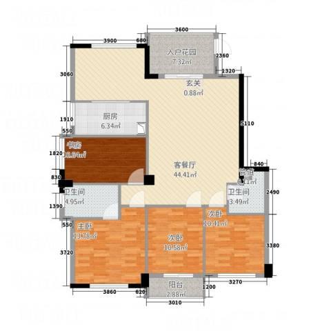 骏霖左岸丽川4室1厅2卫1厨154.00㎡户型图