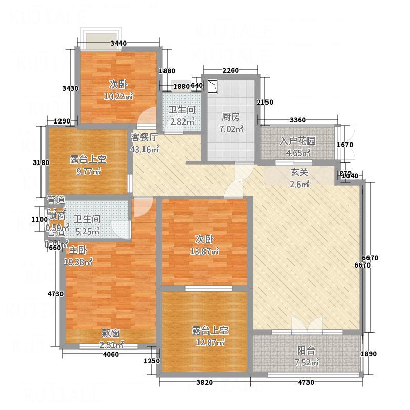 和园15.40㎡户型3室2厅2卫1厨