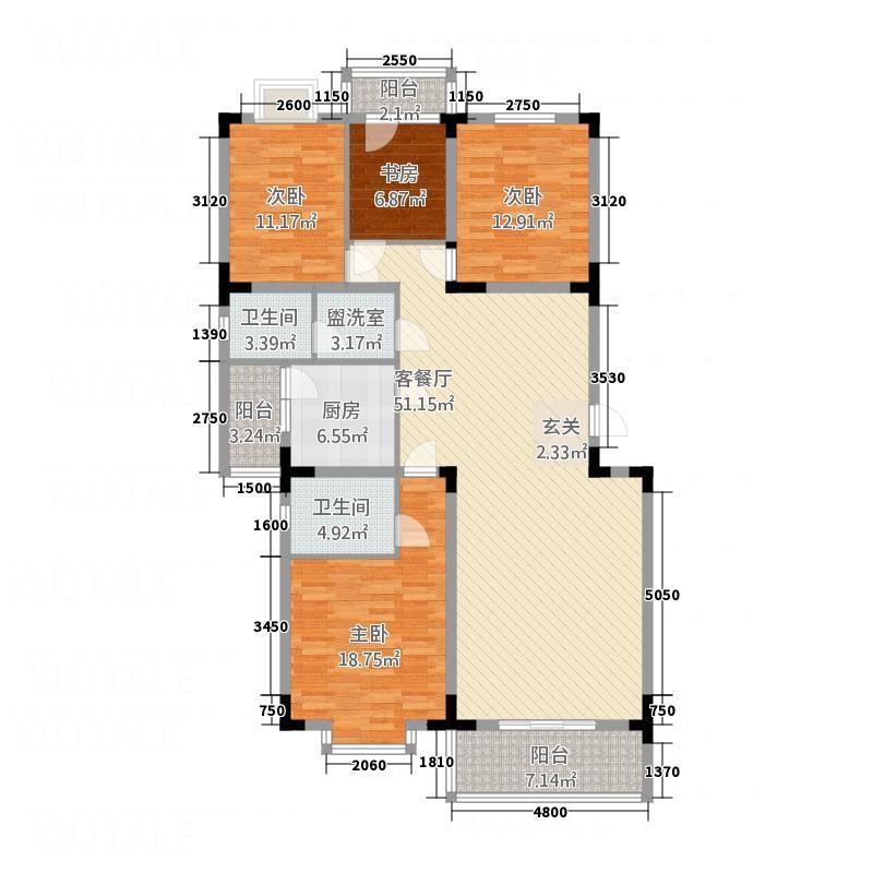 禾嘉名邸15.35㎡C型户型4室2厅2卫1厨