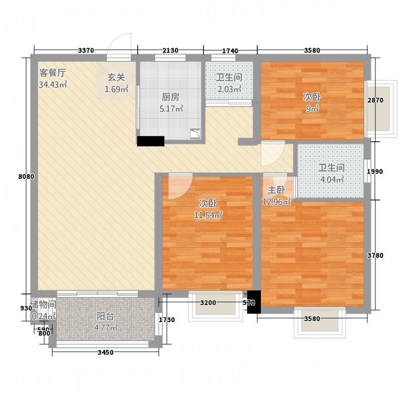 富源尊玺23211.62㎡2-B户型3室2厅2卫1厨