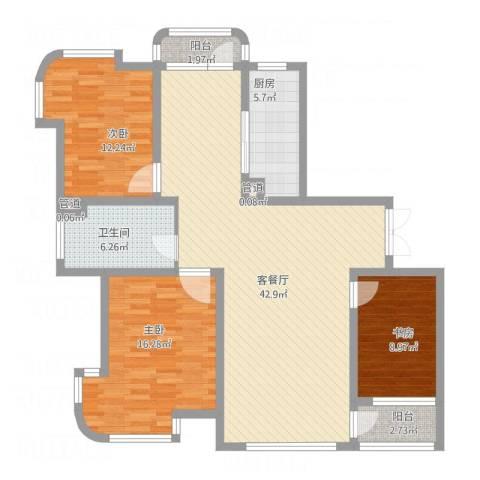 运达嘉洲阳光3室1厅1卫1厨140.00㎡户型图