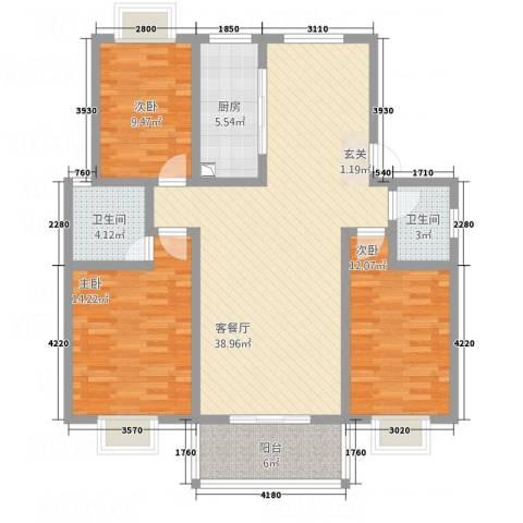 凤凰城3室1厅2卫1厨135.00㎡户型图