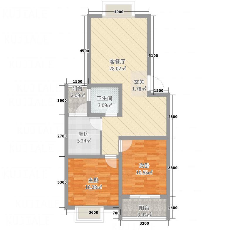 中虹新城78.70㎡K1户型2室2厅1卫1厨