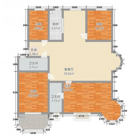 荷兰新城4室1厅2卫1厨186.00㎡户型图