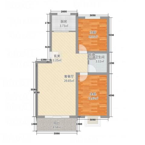 花盛香提2室1厅1卫1厨88.00㎡户型图