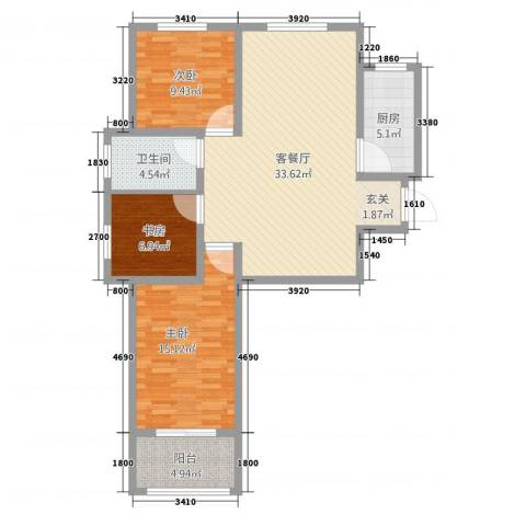 环宇国际广场3室1厅1卫1厨114.00㎡户型图