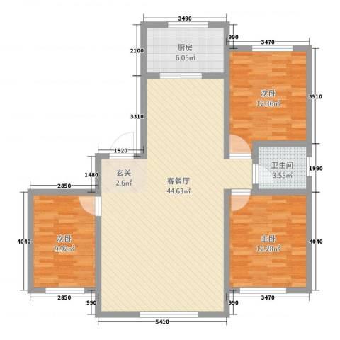 辽阳鑫德雅居3室1厅1卫1厨122.00㎡户型图