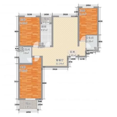 康桥尚城3室1厅2卫1厨90.13㎡户型图
