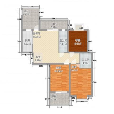 外滩首府3室1厅2卫1厨136.00㎡户型图