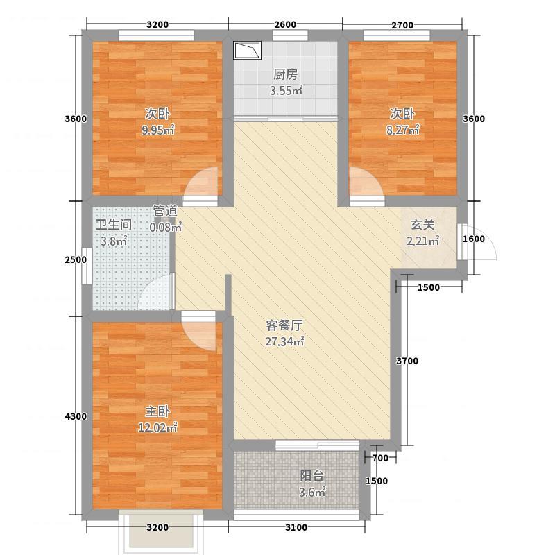 御宇・国际城14.15㎡A4户型3室2厅1卫1厨