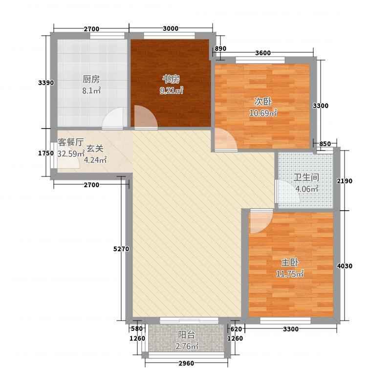 首创・象墅11.00㎡A户型3室2厅1卫1厨