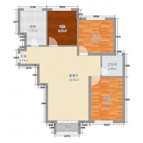 首创・象墅3室1厅1卫1厨111.00㎡户型图
