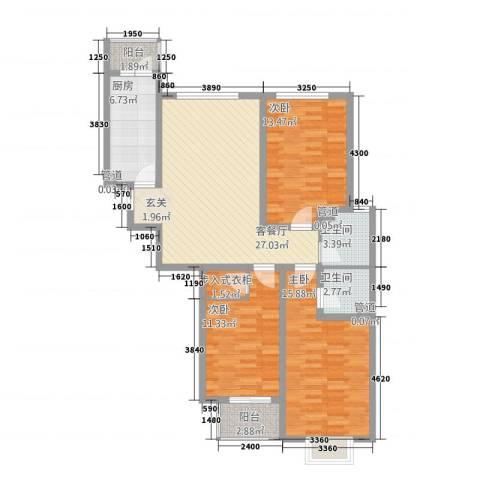 康桥尚城3室1厅2卫1厨87.03㎡户型图
