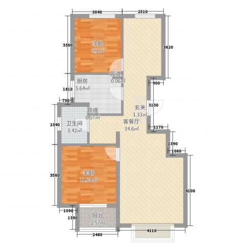 朗�骏景2室1厅1卫1厨66.70㎡户型图