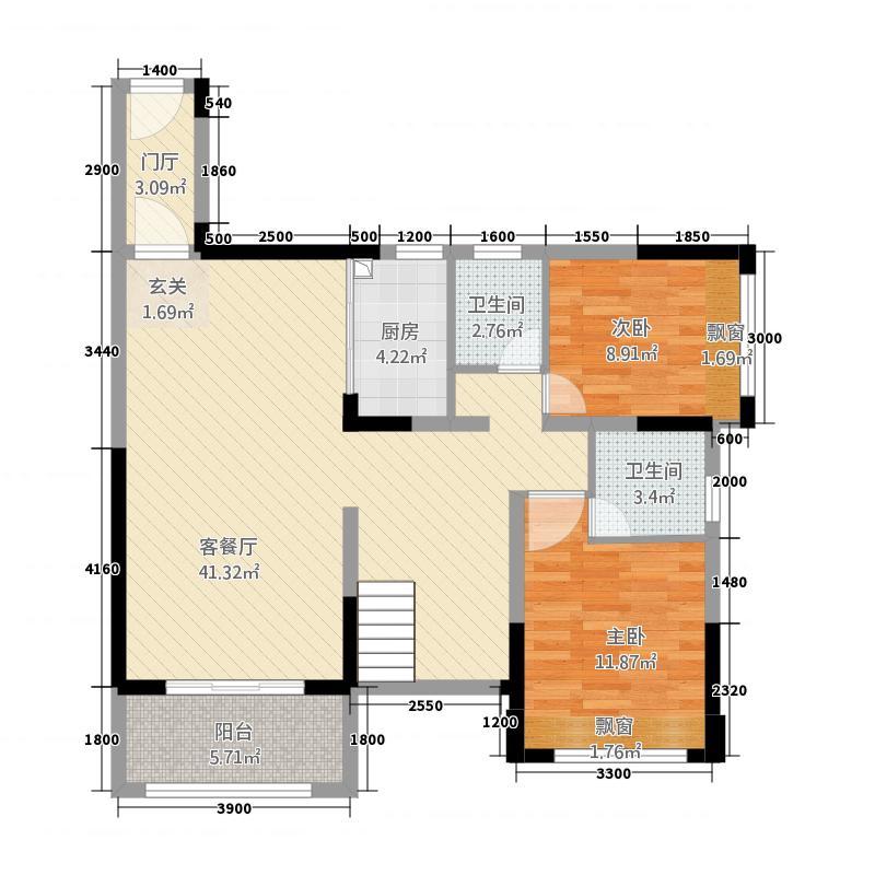 御景东方复式1楼户型3室2厅2卫1厨
