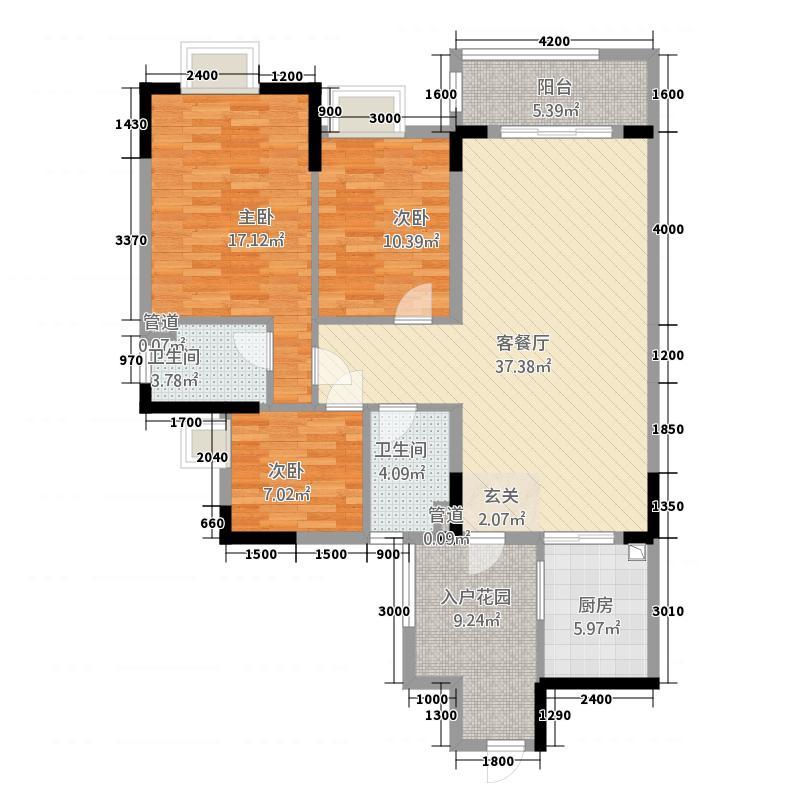 万隆花园14.70㎡A2-320-175户型3室2厅2卫1厨