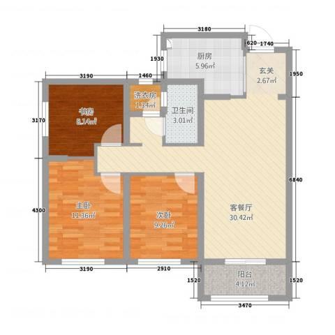加州壹号3室1厅1卫1厨107.00㎡户型图