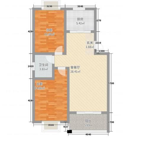 凤凰城2室1厅1卫1厨78.00㎡户型图