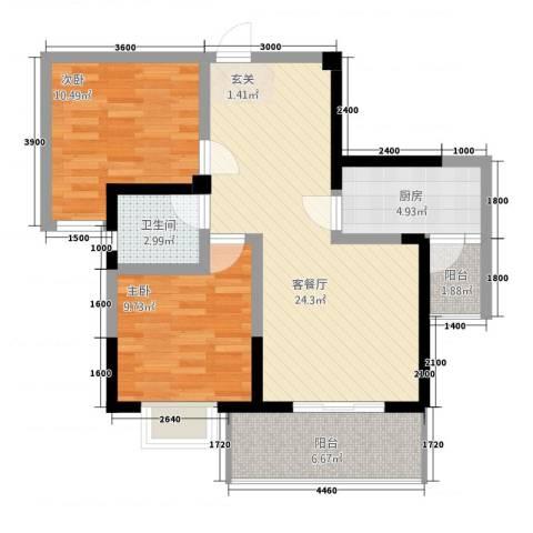 鑫恒香廷2室1厅1卫1厨2282.00㎡户型图