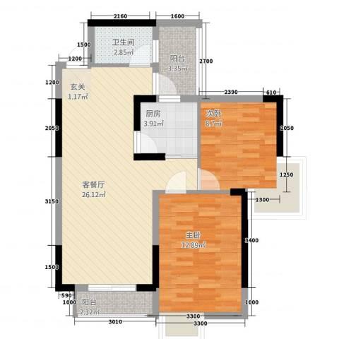 博泰・半岛水湾2室1厅1卫1厨81.00㎡户型图