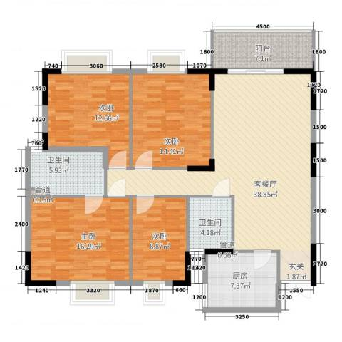 金沙龙山水怡花园4室1厅2卫1厨136.00㎡户型图